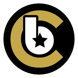 Company logo in black, white and gold